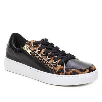 Tênis Couro Shoestock Pelo Onça Zíper Feminino
