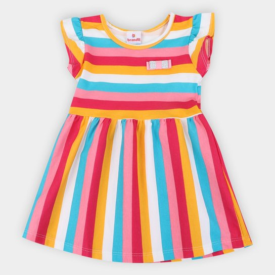 Vestido Bebê Brandili Listrado - Rosa+Azul