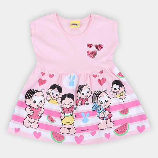 Vestido Bebê Brandili Turma da Mônica - Rosa