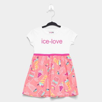 Vestido Bebê Candy Kids Ice Love Manga Curta