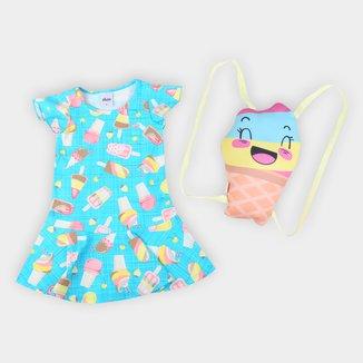 Vestido Bebê Elian Curto Sorvetes Com Mochila de Brinde
