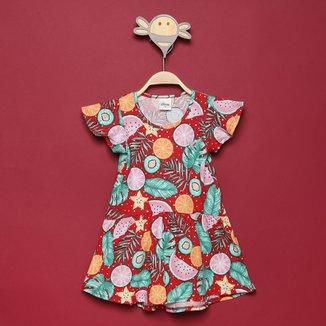 Vestido Bebê Elian Estampas de Frutas