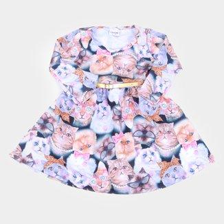 Vestido Bebê Fakini Manga Longa Molecotton Gatinhos + Cinto