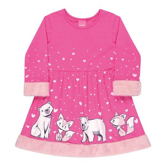 Vestido Bebê Kamylus Pelo Raposas Manga Longa - Pink