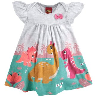 Vestido Bebê Kyly Com Body Interno e Laço Dino