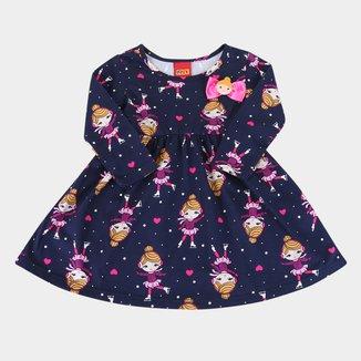 Vestido Bebê Kyly Estampa Boneca Manga Longa