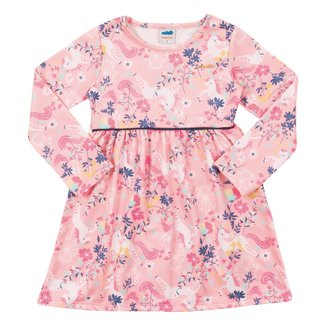 Vestido Bebê Marlan Felpado Floral Manga Longa