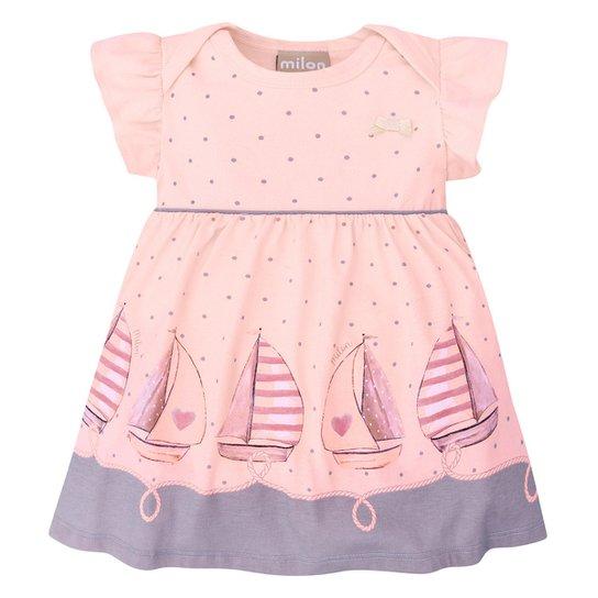 Vestido Bebê Milon Barquinhos + Body Interno - Rosa