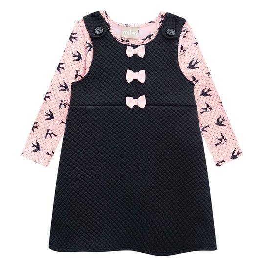 Vestido Bebê Milon Blusa Cotton c/ Salopete Matelassê - Preto