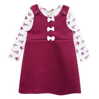 Vestido Bebê Milon Blusa Cotton c/ Salopete Matelassê