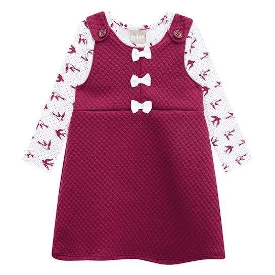 Vestido Bebê Milon Blusa Cotton c/ Salopete Matelassê - Vinho