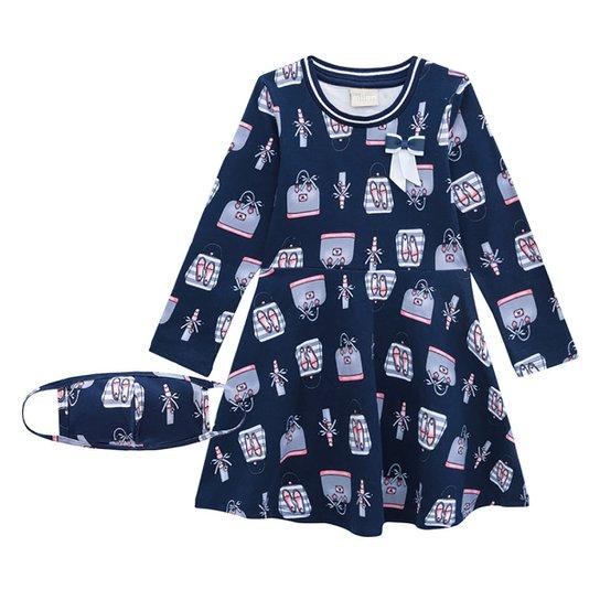 Vestido Bebê Milon Estampado Manga Longa - Marinho