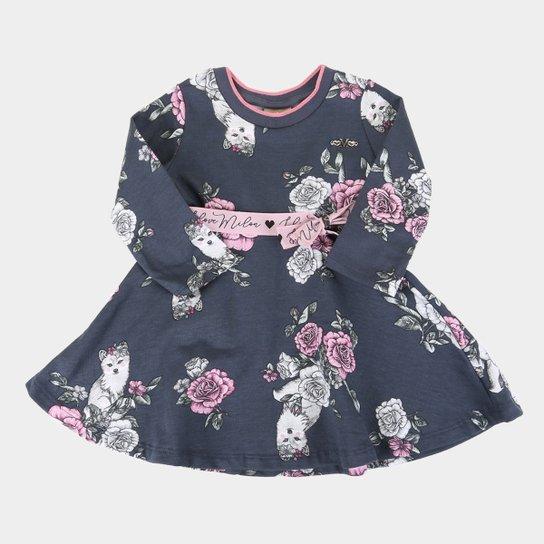 Vestido Bebê Milon Estampado Manga Longa - Chumbo
