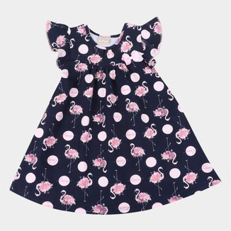 Vestido Bebê Milon Flamingos Lacinho