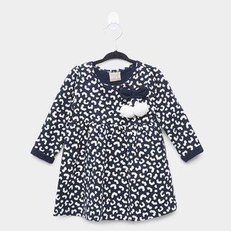 Vestido Bebê Milon Onça C/ Laço Manga Longa