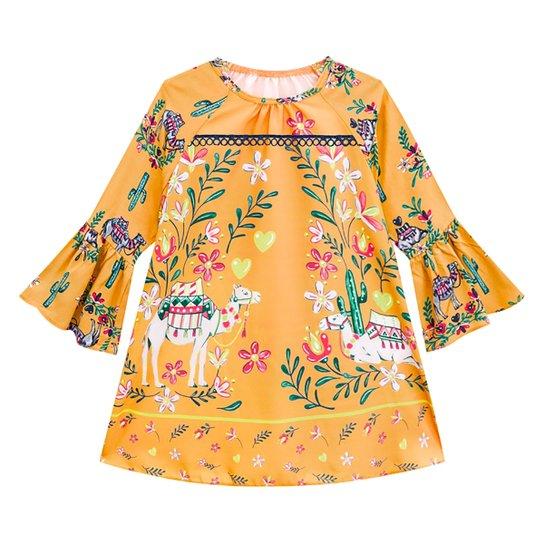 Vestido Bebê Nanai Cetim Manga Longa Floral - Amarelo