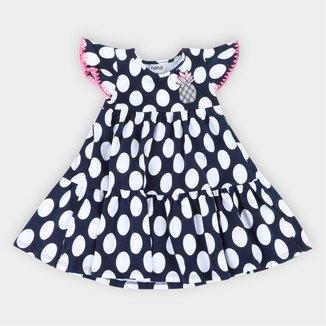 Vestido Bebê Nanai Estampa Poá e Abacaxi Bordado