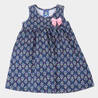Vestido Bebê Pipa Curto Evasê Laço Floral