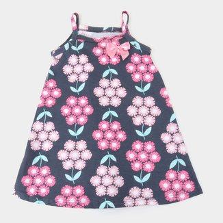 Vestido Bebê Pipa Curto Evasê Laço Flores