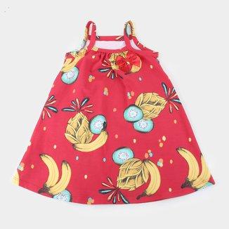 Vestido Bebê Pipa Curto Evasê Laço Frutas