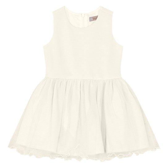 Vestido Bebê Trick Nick Festa Canelado Tule - Off White