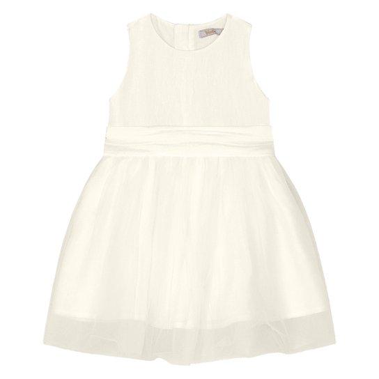 Vestido Bebê Trick Nick Festa Tafetá Tule - Off White