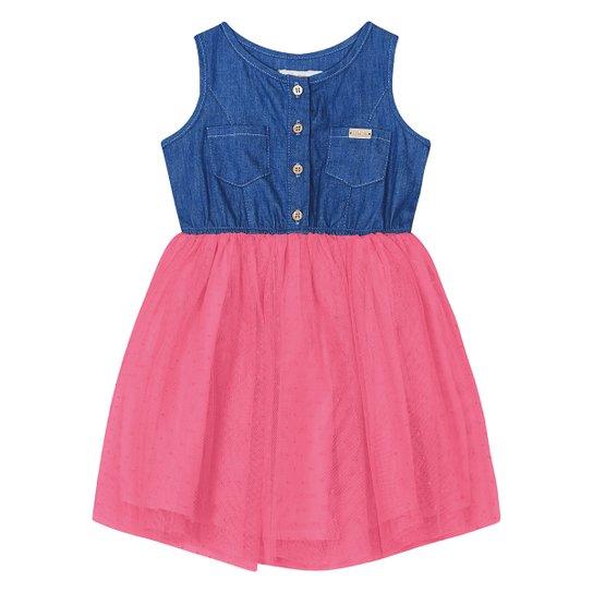 Vestido Bebê Trick Nick Popeline Jeans Tule - Pink