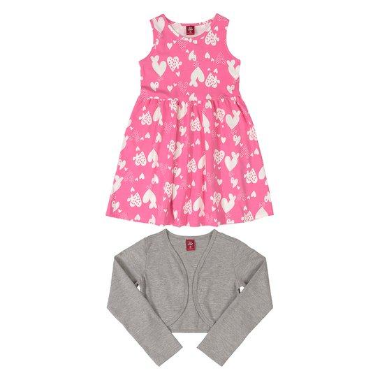 Vestido Infantil Bee Loop Estampado + Bolero - Rosa