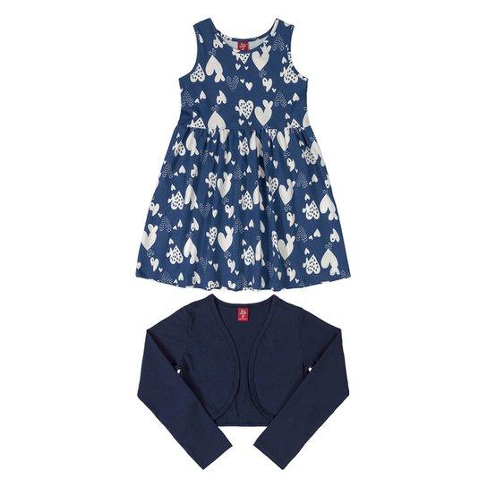Vestido Infantil Bee Loop Estampado + Bolero - Azul Escuro