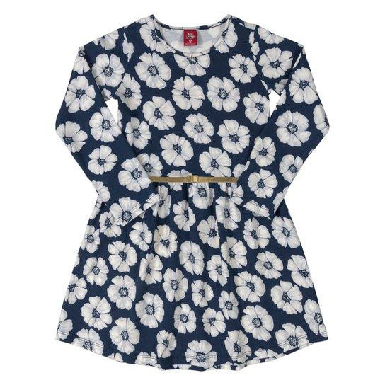 Vestido Infantil Bee Loop Floral Com Cinto Manga Longa Cotton Floral - Marinho