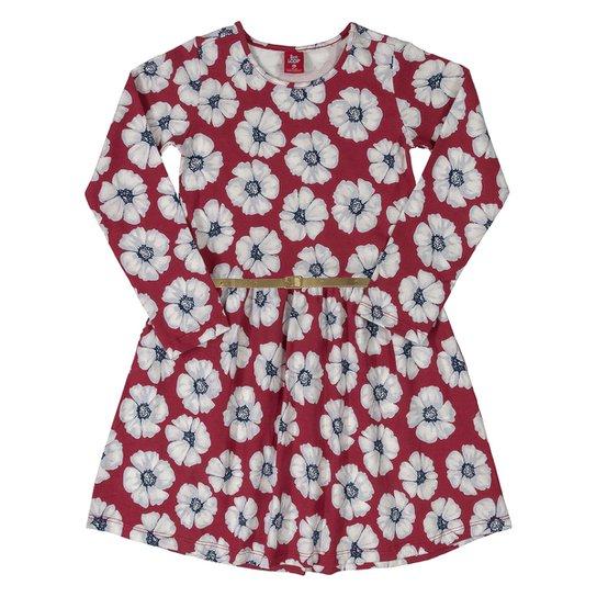 Vestido Infantil Bee Loop Floral Com Cinto Manga Longa Cotton Floral - Vermelho
