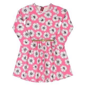 Vestido Infantil Bee Loop Floral Com Cinto Manga Longa Cotton Floral