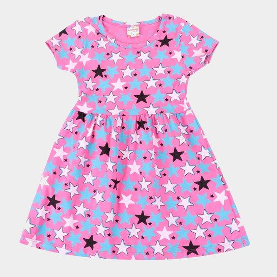 Vestido Infantil Brandili Estrelas Manga Curta Feminino - Rosa