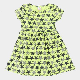 Vestido Infantil Brandili Estrelas Manga Curta Feminino