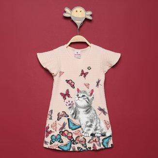 Vestido Infantil Brandili Pixel Borboletas Feminino