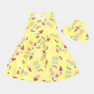 Vestido Infantil Candy Kids Frutinhas + Roupinha Boneca Feminino