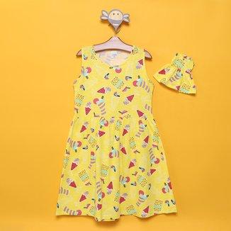 Vestido Infantil Candy Kids Sorvete + Roupinha de Boneca