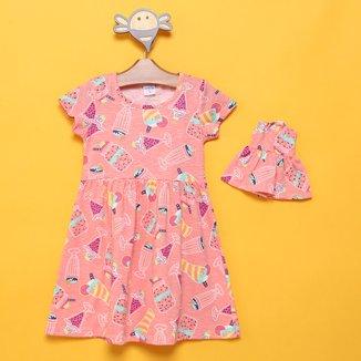 Vestido Infantil Candy Kids Sorvetes + Roupinha Boneca Feminino