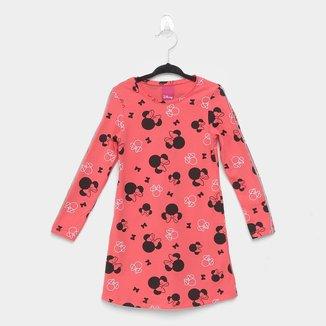 Vestido Infantil Cativa Disney Minnie Manga Longa