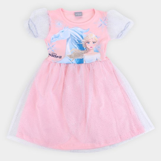 Vestido Infantil Disney Frozen Tule Manga Bufante Feminino - Rosa Claro