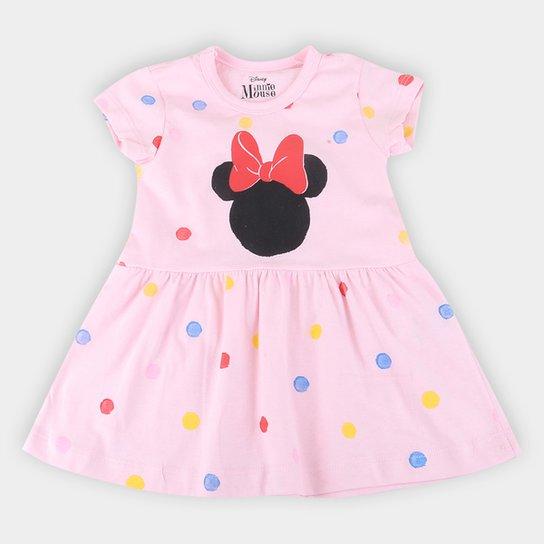 Vestido Infantil Disney Minnie Aquarelado - Rosa Claro