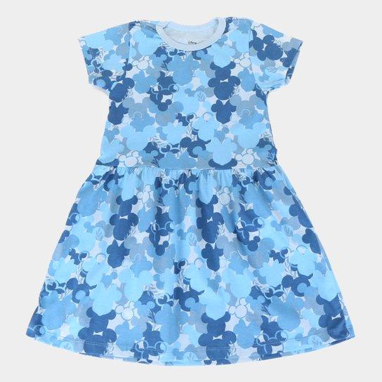 Vestido Infantil Disney Minnie Camuflado - Azul