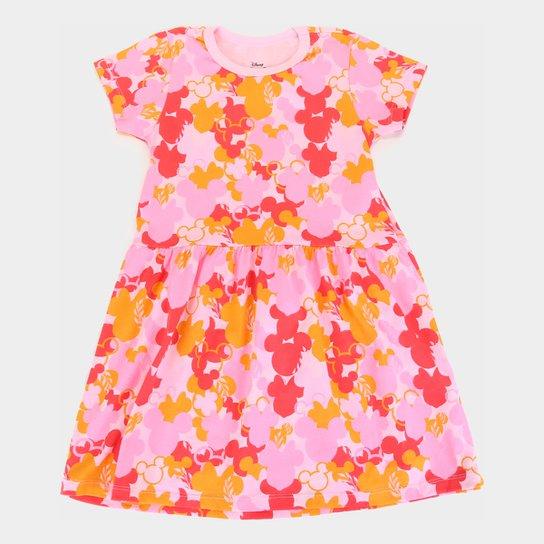 Vestido Infantil Disney Minnie Camuflado - Rosa