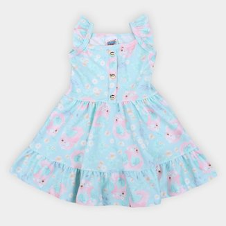 Vestido Infantil Duzizo Crepe Sublimado Feminino