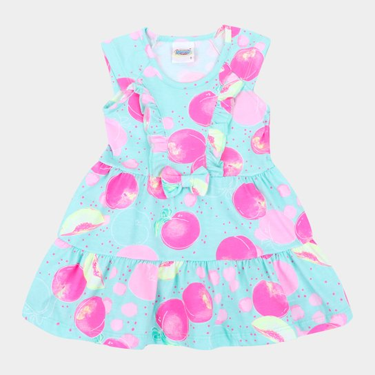 Vestido Infantil Duzizo Frutinhas Babado Feminino - Verde claro