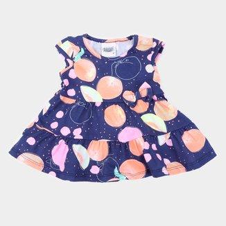 Vestido Infantil Duzizo Frutinhas Laço Feminino