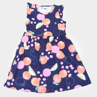 Vestido Infantil Duzizo Frutinhas Manga Curta Com Babado Feminino