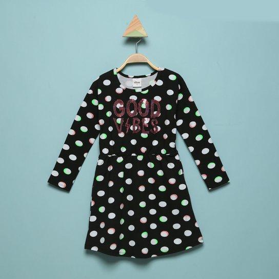 Vestido Infantil Elian Manga Longa Poá Good Vibes - Preto