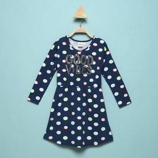 Vestido Infantil Elian Manga Longa Poá Good Vibes