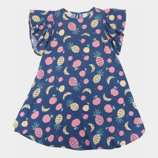 Vestido Infantil Hering Estampado Manga Curta Feminino - Marinho